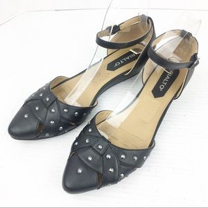 SZ 9 Pointed Toe Rialto Black Studded Wedges